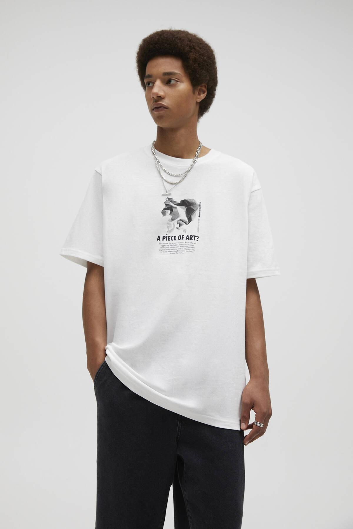 Pull & Bear Kırık Beyaz Sloganlı Beyaz Mineral Baskılı T-Shirt 04241565