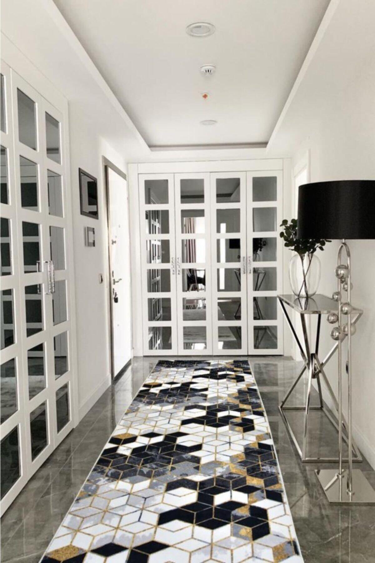 Babil Home Beyaz Petek Desen  Jel Kaymaz Tabanlı Yolluk Bhj850 1