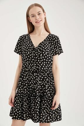 DeFacto Volan Detaylı V Yaka Çiçekli Elbise