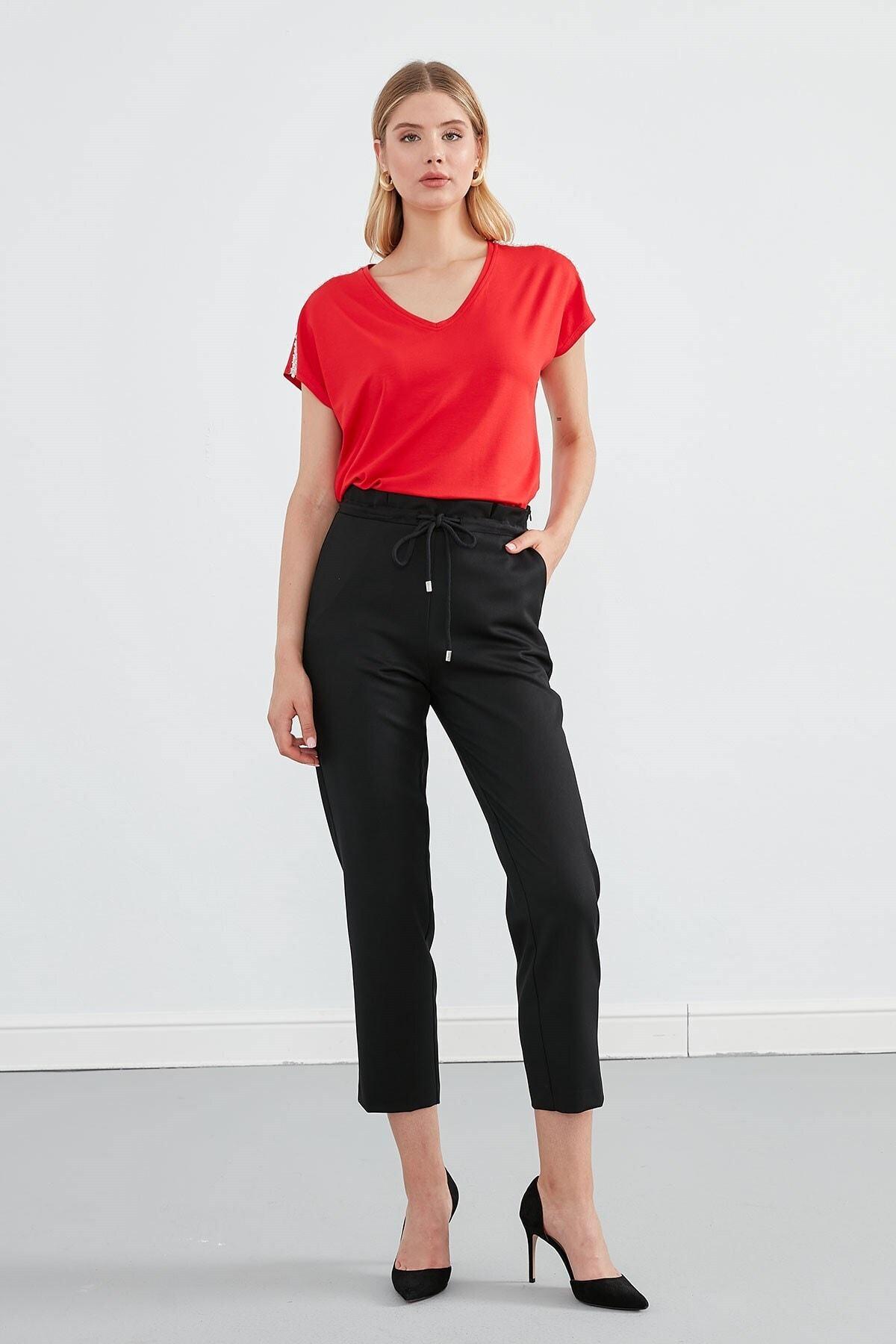 Journey Kadın Kırmızı V Yaka Omuz Üstü İnci Aksesuar Düşük Kol Bluz 2