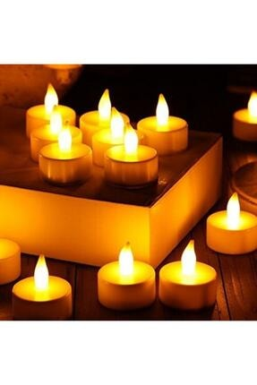 KAZIM ALIÇ Ledli Mum Tealight Işıklı Dumansız Alevli Sarı Pilli Led Mum 4 Adet Pil Dahil