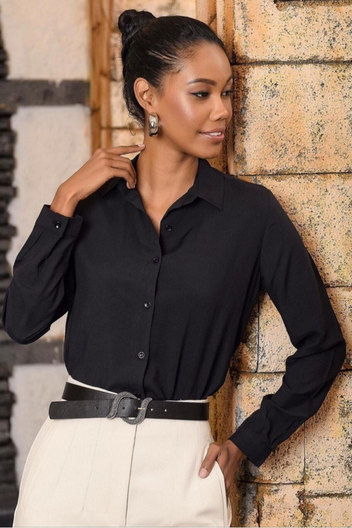Mossta Kadın Siyah Gömlek 1