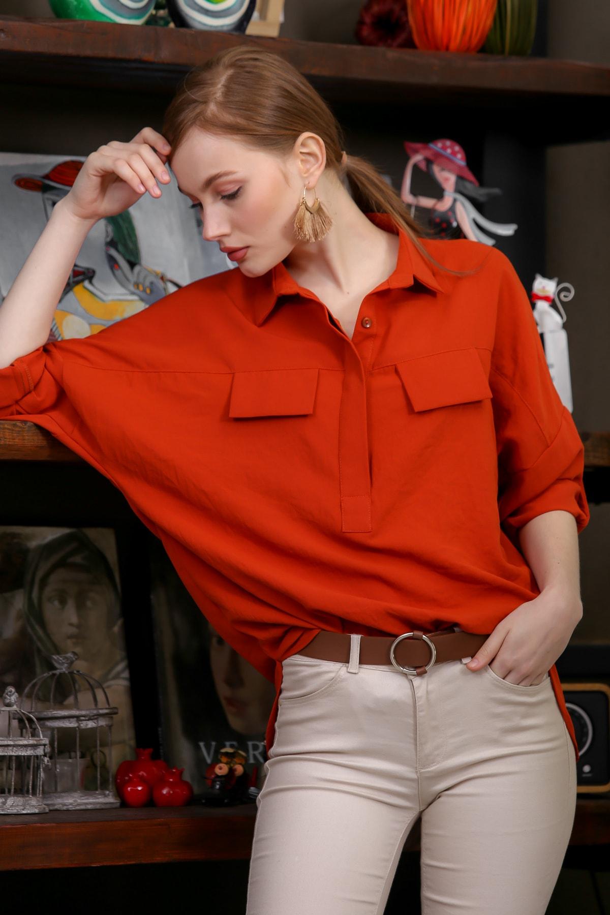 Chiccy Kadın Kiremit Gömlek Yaka Cep Kapaklı Kol Ayarlı Patı Düğmeli Bluz M10010200BL95462