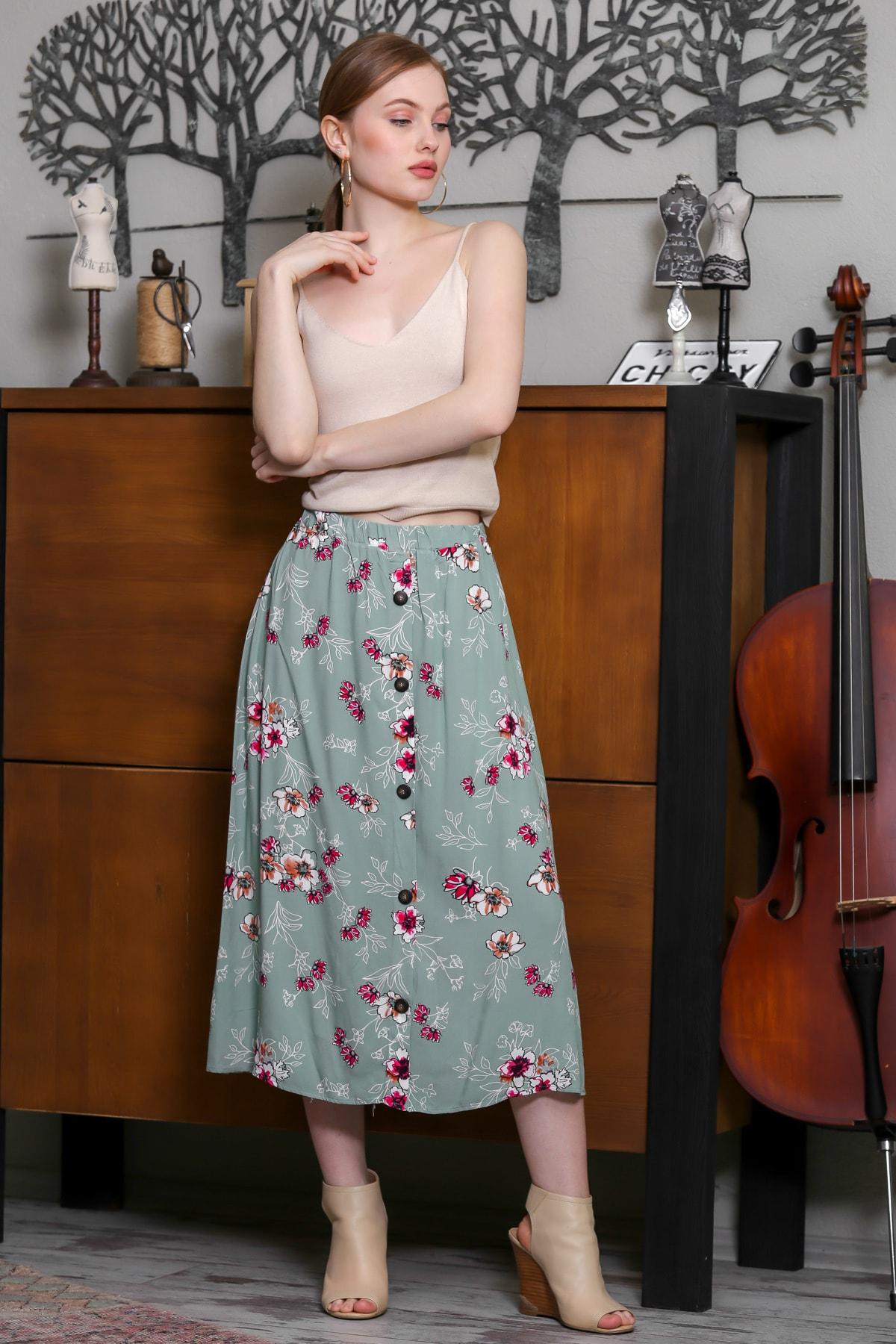 Chiccy Kadın Mint Beli Lastik Süs Düğme Detaylı Çiçek Desenli Dokuma Etek M10110000ET99257