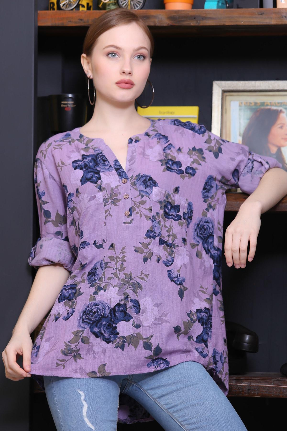 Chiccy Kadın Lila Sıfır Yaka Patı Düğme Detaylı Çiçek Desenli Salaş Gömlek M10010200BL95486