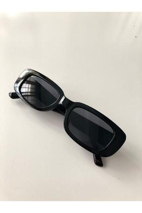 LOOKUP Unisex Siyah Kare Dikdörtgen Vintage-Retro Güneş Gözlüğü