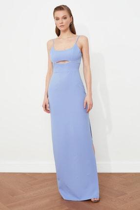 TRENDYOLMİLLA Mavi Yaka Detaylı Abiye & Mezuniyet Elbisesi TPRSS21AE0058
