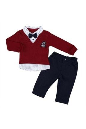 Babyboy Erkek Bebek Süveter Pantolon Takım - Bordo - 3-6 Aylık