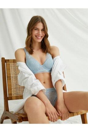 Koton Kadın Mavi Dantelli Soft Sütyen