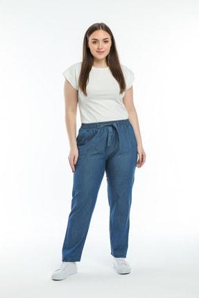 Era Lisa Büyük Beden Beli Lastikli Tensel Ince Kot Pantolon