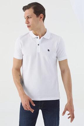D'S Damat Erkek Beyaz Regular Fit Pike Dokulu T-shirt