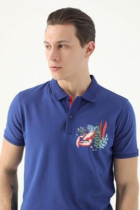 D'S Damat Erkek Mavi Tween Nakışlı T-Shirt