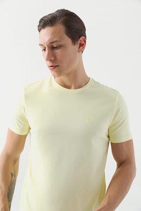 D'S Damat Erkek Sarı Düz Twn Slim Fit T-shirt