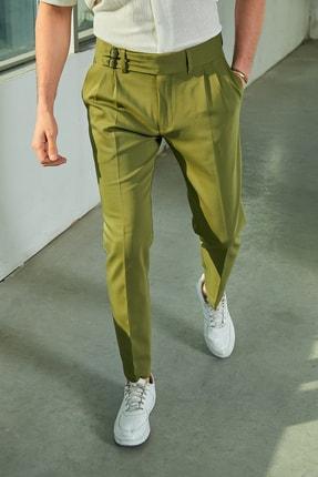 Sateen Men Erkek Haki Kruvaze Kemerli Pantolon