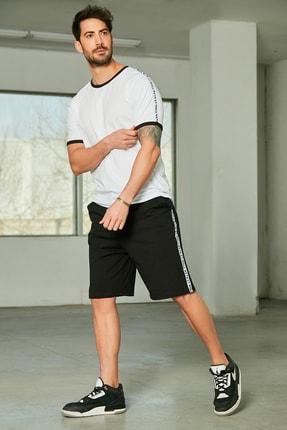 Sateen Men Erkek Beyaz-Siyah Şeritli T-Shirt Takım