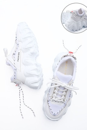 Marjin Kadın Sneaker Dolgu Topuk Spor Ayakkabı Voltebeyaz