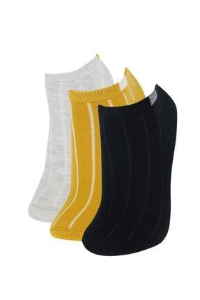 DeFacto Kadın Sarı Desenli  Patik Çorap 3'lü