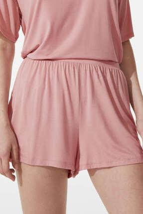 Oysho Kadın  Pembe Yumuşak Dokulu Düz Shorts