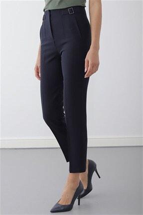 Journey Kadın Lacivert Pervaz Kemer Üstü Apolet Ve Toka Detaylı Dar Paça Pantolon