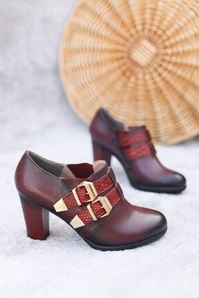 PUNTO Kadın Bordo Altın Tokalı Topuklu Ayakkabı