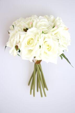 Yapay Çiçek Deposu 10lu Lüx Gul Demeti 25 Cm Beyaz