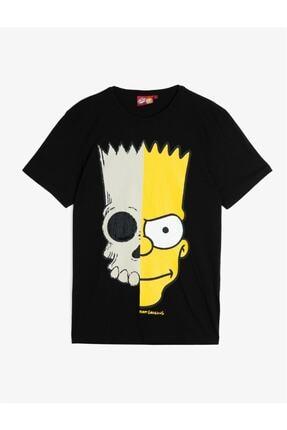 Koton Erkek Siyah Simpson Lisanslı Baskılı T-Shirt