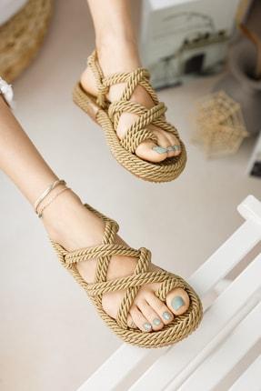 meyra'nın ayakkabıları Halat Sandalet Altın