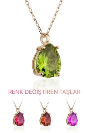 BY BARUN SİLVER Kadın Rose Zultanit Kolye  KL-0550