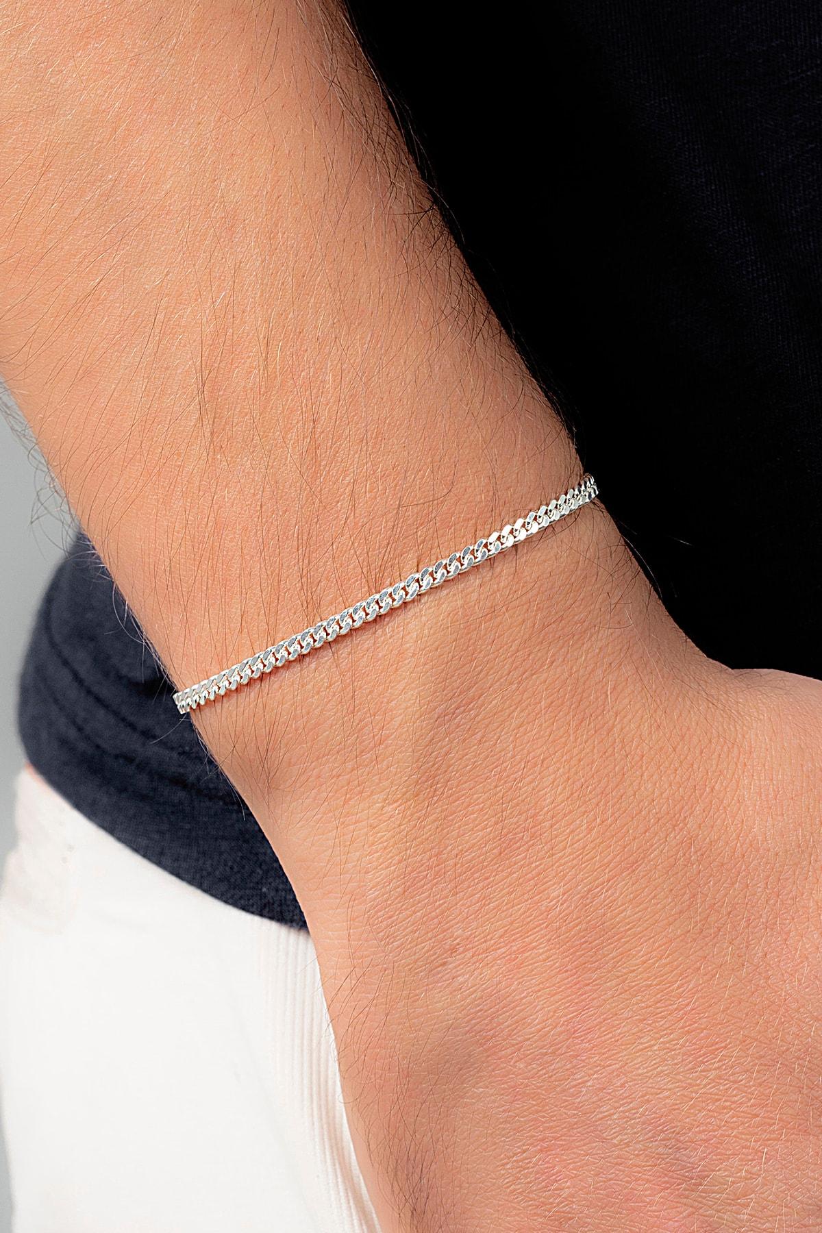 Ventino Silver Gurmet 925 Ayar Gümüş Erkek Zincir Bileklik Veb-5019 1