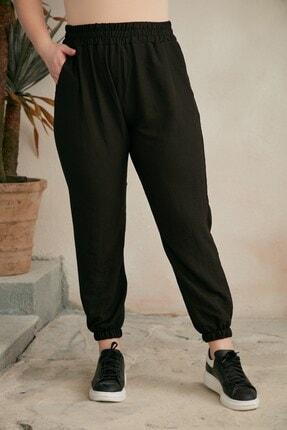 RMG Kadın Siyah Bel Ve Paça Lastikli Aerobin Büyük Beden Pantolon