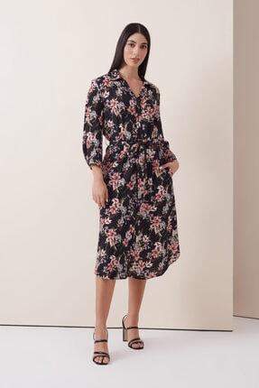 Gusto Çiçek Desenli Gömlek Elbise - Siyah