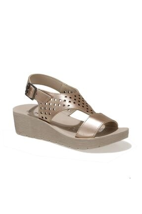 Polaris 317726.Z 1FX Altın Kadın Dolgu Topuklu Sandalet 101025556