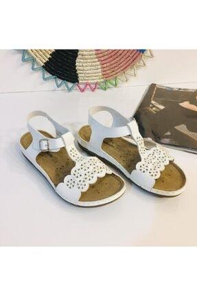 Polaris Beyaz Deri Taban Astar Dikişli Cırtlı Kadın Sandalet