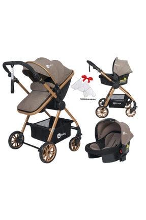 4 Baby Kahve Esse Model Gold Travel Bebek Arabası + Yağmurluk