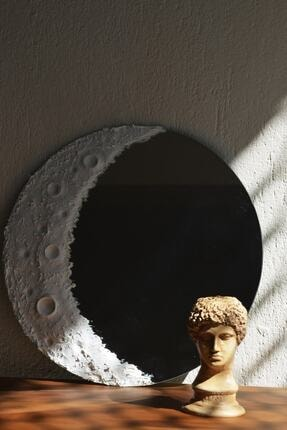 UĞUR MOBİLYA Beyaz Ay Desenli Krater Ayna