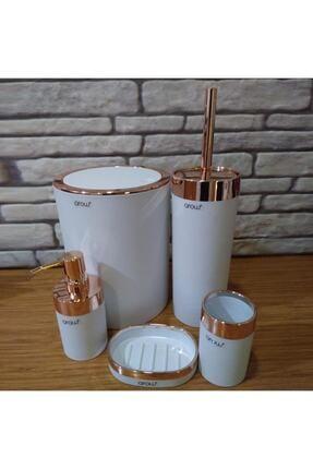 AROW Akrilik 5'li Banyo Seti - Beyaz Bakır Kaplama