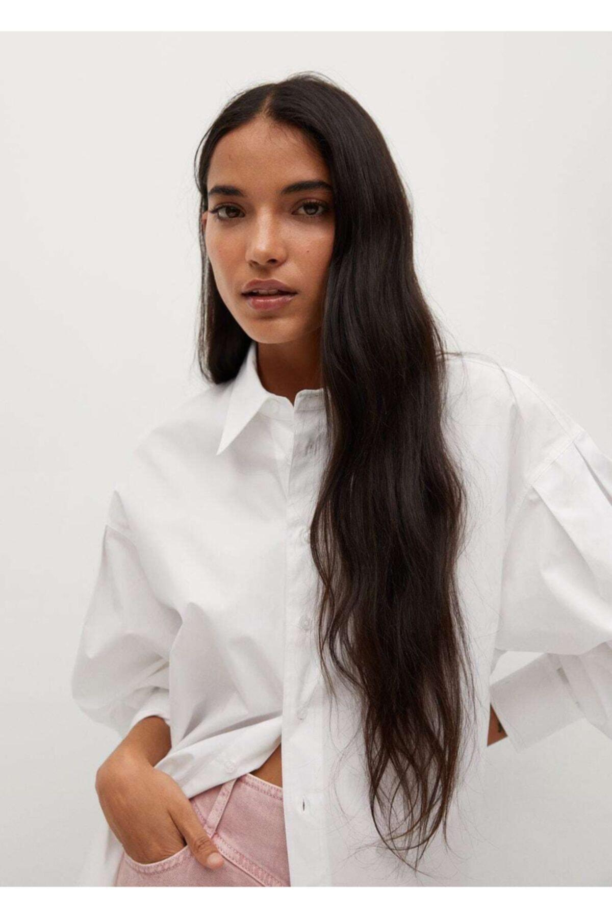 MANGO Woman Geniş Kesim Koton Gömlek 1