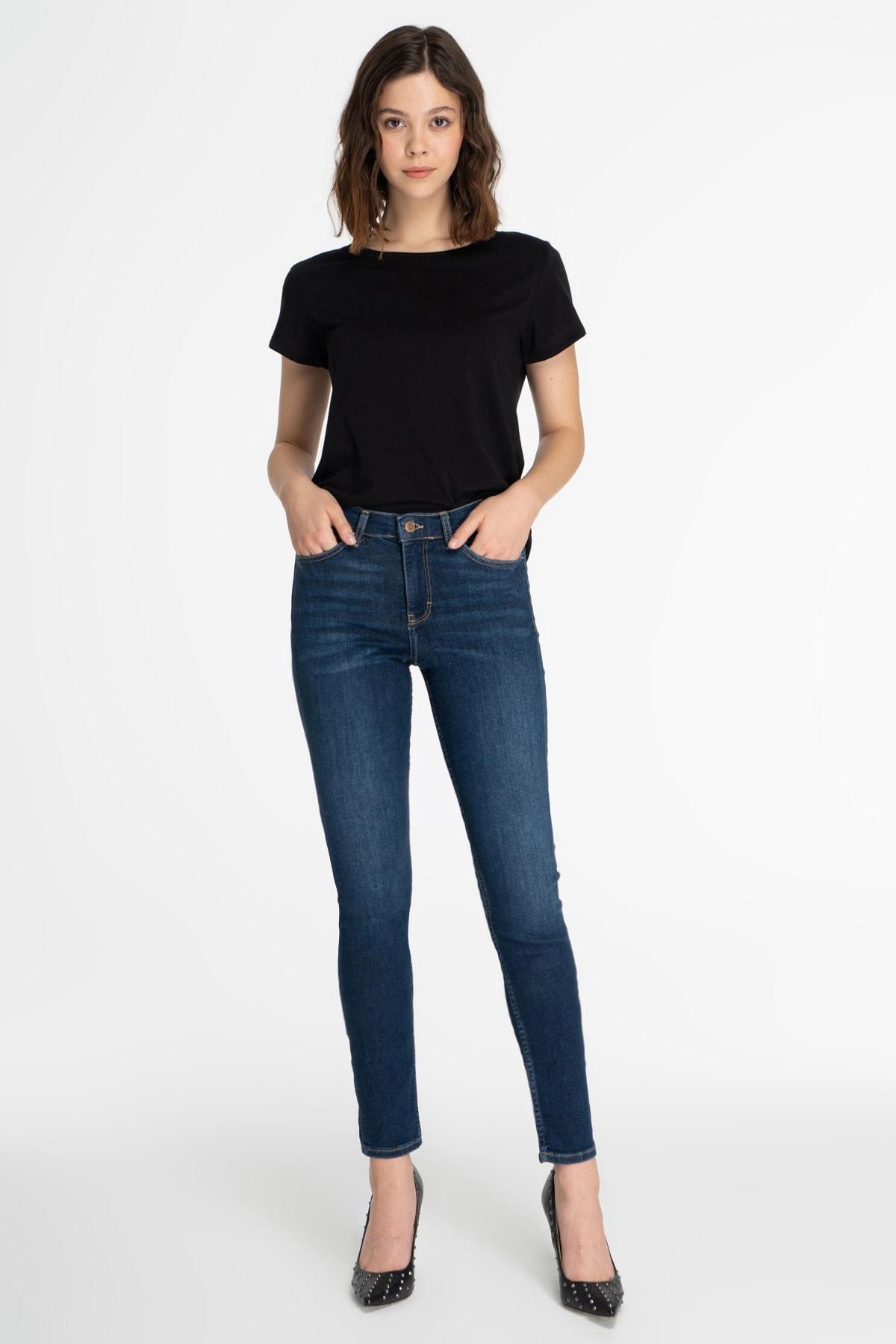 CROSS JEANS Kadın Koyu Mavi Normal Bel Skinny Fit Jean Pantolon 1