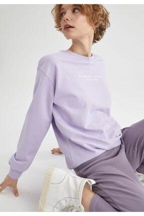 DeFacto Kadın Lila Yazı Baskılı Pamuklu Relax Fit Sweatshirt