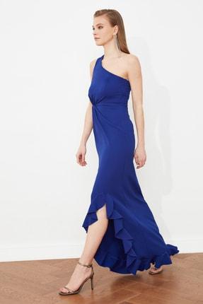 TRENDYOLMİLLA Saks Büzgü Detaylı Abiye & Mezuniyet Elbisesi TPRSS20AE0096