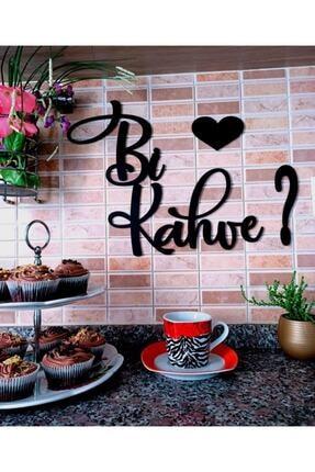 Sese Concept Siyah Ahşap Bi Kahve Kalpli Mutfak Yazı Dekor 40x33 Cm Amy0003004