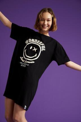 DeFacto Coool Slogan Baskılı Oversize Fit Tişört Elbise