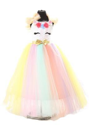 DEHAMODA Kız Çocuk Elbise My Little Pony Unicorn Kostüm Çocuk Elbise