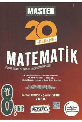 Okyanus Yayınları 8 .Sınıf Master Matematik 20 Deneme