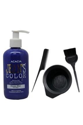 Acacia Jeans Color Saç Boyası Mavi Rüya 250 ml Ve Saç Boya Kabı Seti