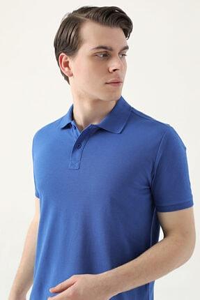 D'S Damat Regular Fit Saks Mavi Pike Dokulu T-shirt