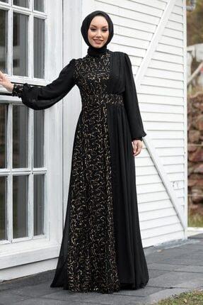 Neva Style Tesettür Abiye Elbise - Pul Payetli Gold Tesettür Abiye Elbise 5408gold