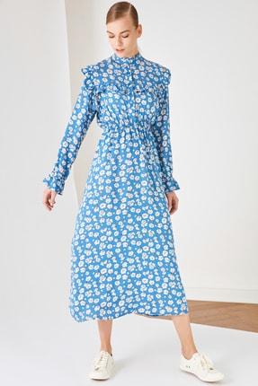 Trendyol Modest Mavi Gömlek Yaka Viskon Elbise TCTSS21EL3446