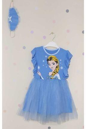 Meyra Bebe Giyim Kız Çocuk Mavi Elsa Elbise ve Maske Çocuk Elbise