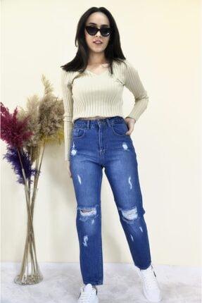 Rubrum Kadın  Mavi Yırtık Boyfriend  Jeans